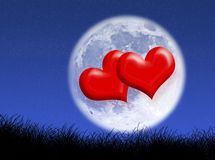Hearts in the moon stock photo