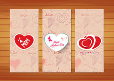 Hearts Mother's Day Cards. Happy mother day with elements card and background for design Royalty Free Stock Photos