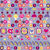 Hearts, mushrooms & flowers pattern Royalty Free Stock Photo
