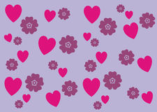 Hearts n Flowers Pattern Background Banner Stock Photo