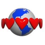 Hearts near the earth.  stock illustration