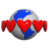 Hearts near the earth Royalty Free Stock Image