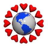 Hearts near the earth.  royalty free illustration