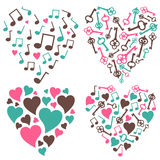 Hearts-notes-keys-set Stock Images