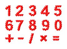 Hearts numbers - cdr format. Numbers from zero to nine and math signs made from shinny hearts Stock Photography
