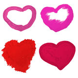 Hearts of oily paint. Vector illustration of four hearts of oily paint Royalty Free Stock Photography