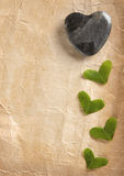 Hearts on Old Paper Stock Image
