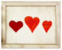 Hearts in old picture frame Stock Images