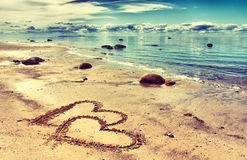 Free Hearts On The Sand Royalty Free Stock Photo - 28594145