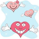 Hearts with open hands Royalty Free Stock Image