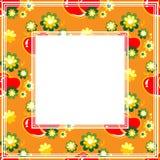 Hearts orange border. Abstract romantic pattern on an orange background vector illustration