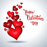 Hearts and original hand lettering  Happy Valentine's day Stock Image