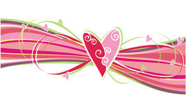 Hearts ornament. Heart on a background of colorful stripes bending Royalty Free Stock Photos