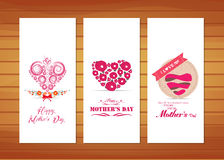Hearts ornament Mother's Day Cards. Happy mother day with elements card and background for design Royalty Free Stock Images