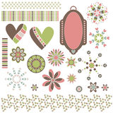 Hearts, ornaments, trims and tag Royalty Free Stock Photography