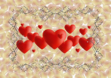 Hearts with ornate frame and rose petals Stock Image
