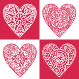 Hearts. Ornate hearts set. retro design elements for valentine`s day Stock Photo