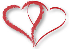 Hearts Outline. Outline of two overlapping red hearts with shadow on a white background Royalty Free Stock Image