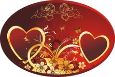Hearts in an oval. Two hearts in an oval framework with cupids, butterflies and colours on a red background Stock Photo