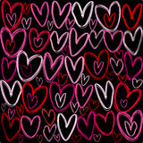 Hearts over black background Stock Photos