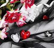 Hearts over Black Tender Textile Still Life Royalty Free Stock Photography