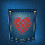 Hearts over denim pocket. Red heart embroided over denim pocket illustration Royalty Free Stock Image