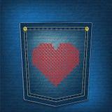 Hearts over denim pocket Royalty Free Stock Image