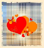 Hearts over halftone background Royalty Free Stock Image