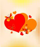 Hearts over halftone background Royalty Free Stock Photos