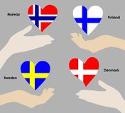 Hearts over hands as the flags of Norway, Sweden, Denmark and Finland. A symbol of patriotism and love. Quality background for wide and varied application in the Royalty Free Stock Photo
