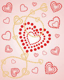 Hearts over hearts. Vector illustration of a red and golden heart background Stock Photography
