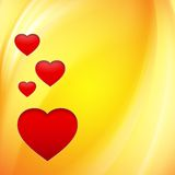 Hearts over orange. Stylish hearts over orange background. Vector illustration, contains transparencies Royalty Free Stock Image