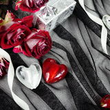 Hearts over Textile Still Life with Roses Royalty Free Stock Images