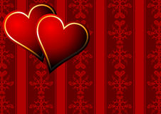 Hearts over vintage wallpaper Stock Photography