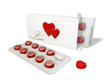 Hearts in packing. Hearts packed in a white box and on the plane Stock Photography
