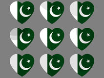 Hearts with the Pakistan flag. I love the Pakistan. Pakistan flag icon set. Vector Stock Images