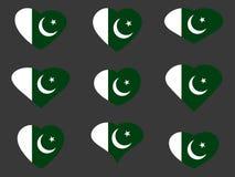 Hearts with the Pakistan flag. I love the Pakistan. Pakistan flag icon set. Vector Stock Photos