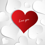 Hearts on paper background Royalty Free Stock Images
