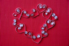 Hearts of  paper quilling  for Valentine's day Stock Photography