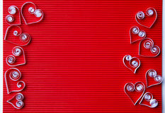 Hearts of  paper quilling  for Valentine's day Royalty Free Stock Images