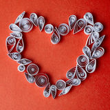Hearts of  paper quilling  for Valentine's day Royalty Free Stock Image