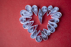 Hearts of  paper quilling  for Valentine's day Royalty Free Stock Photography