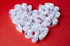Hearts of  paper quilling  for Valentine's day Royalty Free Stock Photo