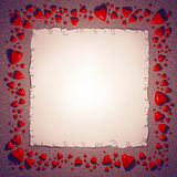 Hearts and paper sheet frame. Red ceramic hearts and paper sheet design template, frame for photo or text stock illustration