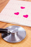 Hearts of paper and stethoscope on electrocardiogram graph, medicine and healthcare concept Royalty Free Stock Image