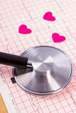 Hearts of paper and stethoscope on electrocardiogram graph, medicine and healthcare concept Stock Photo