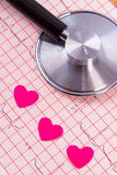 Hearts of paper and stethoscope on electrocardiogram graph, medicine and healthcare concept Royalty Free Stock Photography