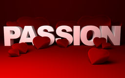 Hearts and Passion. Three dimensional illustration of hearts and PASSION text made with white solid letters on red background Stock Photo