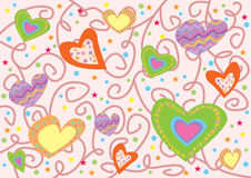 Hearts pattern. Digital background texture illustration with hearts and stars Royalty Free Stock Images