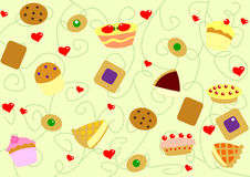 Hearts pattern. Digital background texture illustration with sweet food, cakes and biscuits Royalty Free Stock Photos